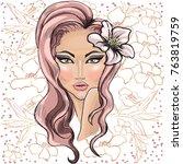 vector strong girl  female face ... | Shutterstock .eps vector #763819759
