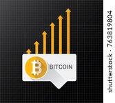 vector bitcoin growth graph on... | Shutterstock .eps vector #763819804