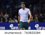 Small photo of Arena O2, London, UK – November 18, 2017: Professional Swiss Tennis player Roger Federer in action during the Nitto ATP semi-finals match against David Goffin from Belgium at O2 indoor Arena