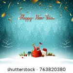 happy new year calligraphic red ... | Shutterstock .eps vector #763820380