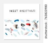 merry christmas unusual trendy... | Shutterstock .eps vector #763823980