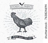 butcher shop vintage emblem... | Shutterstock . vector #763824694
