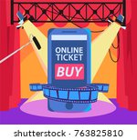 online cinema ticket order.... | Shutterstock .eps vector #763825810