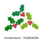 christmas holly berries... | Shutterstock .eps vector #763826506