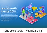 trends in social media 2018.... | Shutterstock .eps vector #763826548