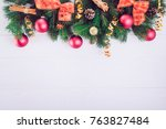 christmas background with fir... | Shutterstock . vector #763827484