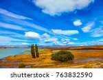 flat plain with shallow lakes... | Shutterstock . vector #763832590