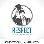 respect logo   concept sign  ... | Shutterstock .eps vector #763834999