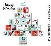 christmas advent calendar. hand ... | Shutterstock .eps vector #763836898