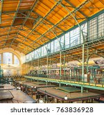 Small photo of BUDAPEST, HUNGARY - 11 NOVEMBER, 2017: Interior of Market Hall of Hold utca in Budapest, Hungary on 11 November, 2017.