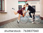 young stylish hipster couple in ... | Shutterstock . vector #763837060