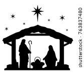 nativity scene silhouette... | Shutterstock .eps vector #763837480