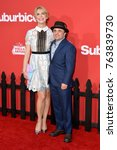 "Small photo of LOS ANGELES, CA - October 22, 2017: Michael D. Cohen & Sarah Randall Hunt at the premiere for ""Suburbicon"" at the Regency Village Theatre, Westwood"