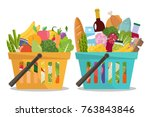 grocery in a shopping basket... | Shutterstock .eps vector #763843846