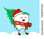 funny tooth in a cap of santa... | Shutterstock .eps vector #763845154