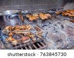 chicken bbq. raw meat done | Shutterstock . vector #763845730