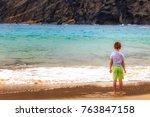 kid contemplating the ocean.... | Shutterstock . vector #763847158