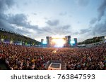 madrid   jun 24  the crowd in a ... | Shutterstock . vector #763847593