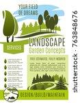 green landscape design and... | Shutterstock .eps vector #763848676