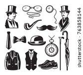 retro pictures in victorian...   Shutterstock .eps vector #763858144