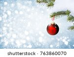 christmas background with red... | Shutterstock . vector #763860070