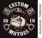 bulldog biker with crossed... | Shutterstock .eps vector #763860160