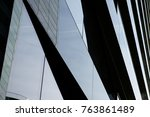 reflections in a modern office... | Shutterstock . vector #763861489
