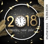 grey 2018 new year background... | Shutterstock .eps vector #763863034