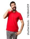 handsome man making phone...   Shutterstock . vector #763864459