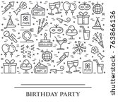 birthday party banner with... | Shutterstock .eps vector #763866136