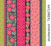 seamless pattern with... | Shutterstock .eps vector #763867144