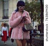 Small photo of PARIS- 27 September 2017 Sita Bellan on the street during the Paris Fashion Week