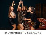 party fun. group of beautiful...   Shutterstock . vector #763871743