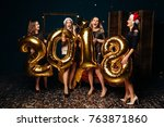 new year party with beautiful... | Shutterstock . vector #763871860