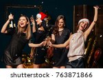 crazy party time of beautiful...   Shutterstock . vector #763871866