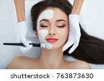 facial skin care. beautiful...   Shutterstock . vector #763873630