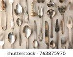 vintage tableware on light... | Shutterstock . vector #763875970