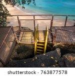 Small photo of Stair access to get to Praia do Sancho Beach - Fernando de Noronha, Pernambuco, Brazil