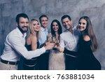 best six friends in formal wear ... | Shutterstock . vector #763881034