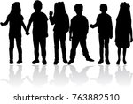 vector silhouette of children... | Shutterstock .eps vector #763882510