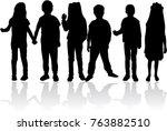 vector silhouette of children... | Shutterstock .eps vector #763882510