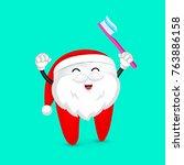 funny cartoon tooth wearing...   Shutterstock .eps vector #763886158