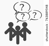 people with questions button...   Shutterstock .eps vector #763889548