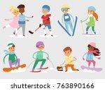 winter vector sport kids games... | Shutterstock .eps vector #763890166