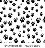 dog's paws seamless pattern.... | Shutterstock .eps vector #763891693