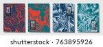 minimalist journal layouts set. ... | Shutterstock .eps vector #763895926