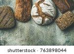 various bread selection flat... | Shutterstock . vector #763898044