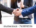handshake of business partners | Shutterstock . vector #763898536