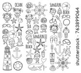coloring page beach set with... | Shutterstock .eps vector #763899064
