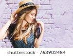 close up portrait of stunning... | Shutterstock . vector #763902484